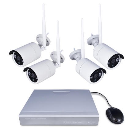 GRADE A2 - electriQ Wireless  CCTV System - 4 Channel 1080p with 4 x Bullet Cameras & 2TB HDD