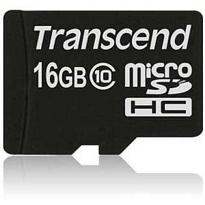 Transcend 16GB MicroSDHC Flash card without Adaptor Class 10