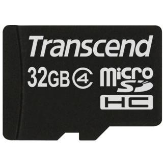 Transcend 32GB MicroSDHC Flash Card with Adaptor Class 4