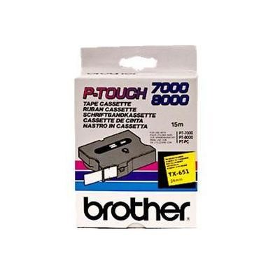 TX651 BROTHER PTOUCH 24MM YELLOW BLACK