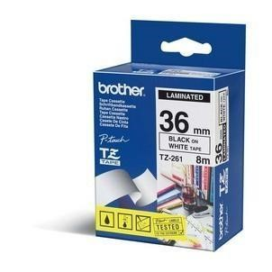 BROTHER TZE261 36MM GLOSS Black on White Tape
