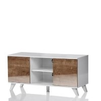 "UK-CF Seville TV Stand for up to 52"" TVs - White/Oak"