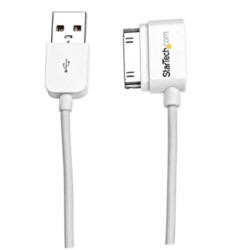 StarTech.com 1m 3 ft Left Angle Apple® 30-pin Dock Connector to USB Cable for iPhone / iPod / iPad