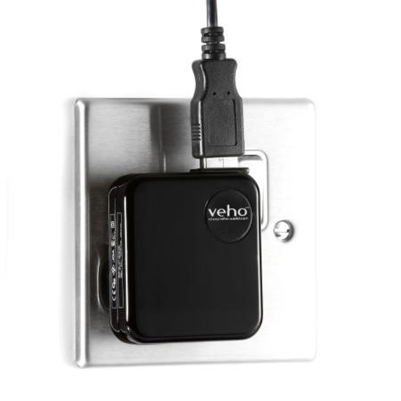Veho Black Mains USB Charger for USB Charged Devices