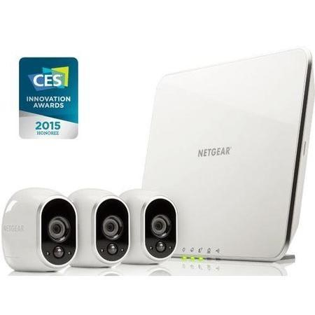 VMS3330-100EUS Netgear Arlo Smart Home System 3 x HD 720p Cameras Wire-Free Indoor/Outdoor with Night Vision