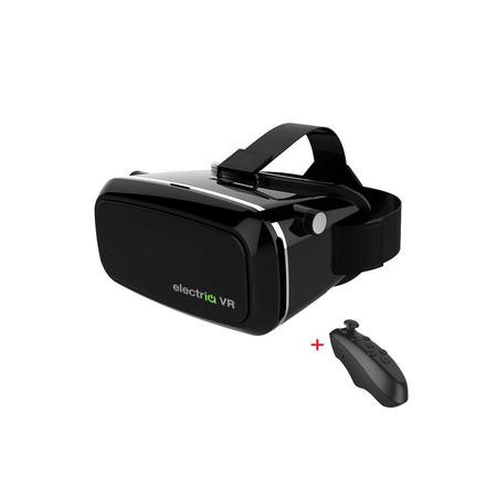 GRADE A1 - Virtual Reality Adjustable 3D Headset for Smartphones + Remote Control - Black