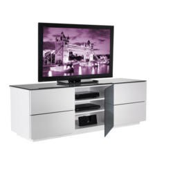 GRADE A2 - Light cosmetic damage - UKCF London Gloss White and Black TV Cabinet - Up to 60 Inch