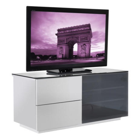 GRADE A2 - Minor Cosmetic Damage - UKCF Paris Gloss White and Black TV Cabinet - Up to 42 Inch