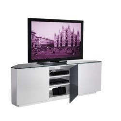 UKCF Milan Gloss White and Black Corner TV Cabinet - Up to 55 Inch