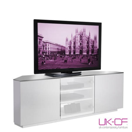 UKCF Milan Gloss White and White Corner TV Cabinet - Up to 55 Inch