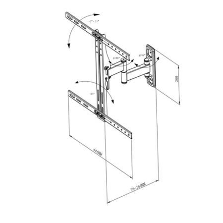 Vivanco 34890 Multi Action TV Wall Bracket - Up to 47 Inch