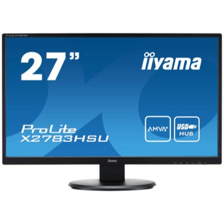"GRADE A1 - As new but box opened - Iiyama 27"" LCD LED-Backlit Monitor Full HD 1920 x 1080 16_9 Black Bezel 2 x 2W Built-In Speakers USB DVI-D HDMI."