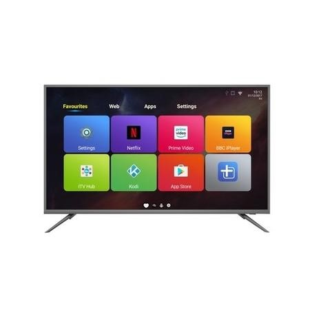 "GRADE A1 - electriQ 50"" 4K Ultra HD LED Smart TV with Android and Freeview HD - Silver"