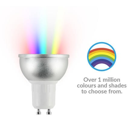 electriQ Smart dimmable colour Wifi Bulb with GU10 short spotlight fitting - Alexa & Google Home compatible