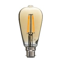 electriQ ST64 Smart dimmable Wifi filament bulb with B22 bayonet fitting - Smoked Amber finish