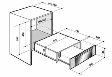 De Dietrich DWD1114B technical drawing and dimensions