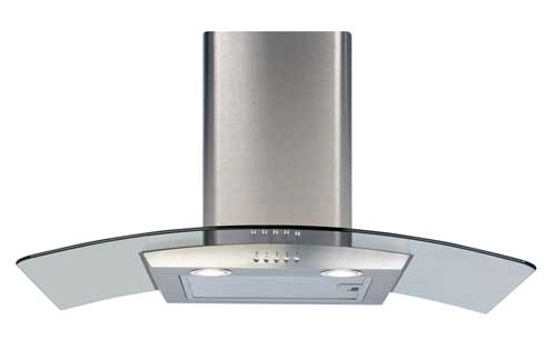 curved glass canopy cooker hood