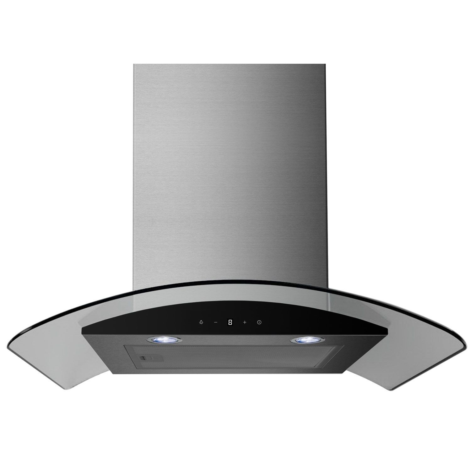 Cooker Hood With A Window ~ Electriq cm stainless curved glass touch control chimney
