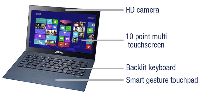 ASUS ZenBook HD camera, backlit keyboard, 10 point multi touchscreen