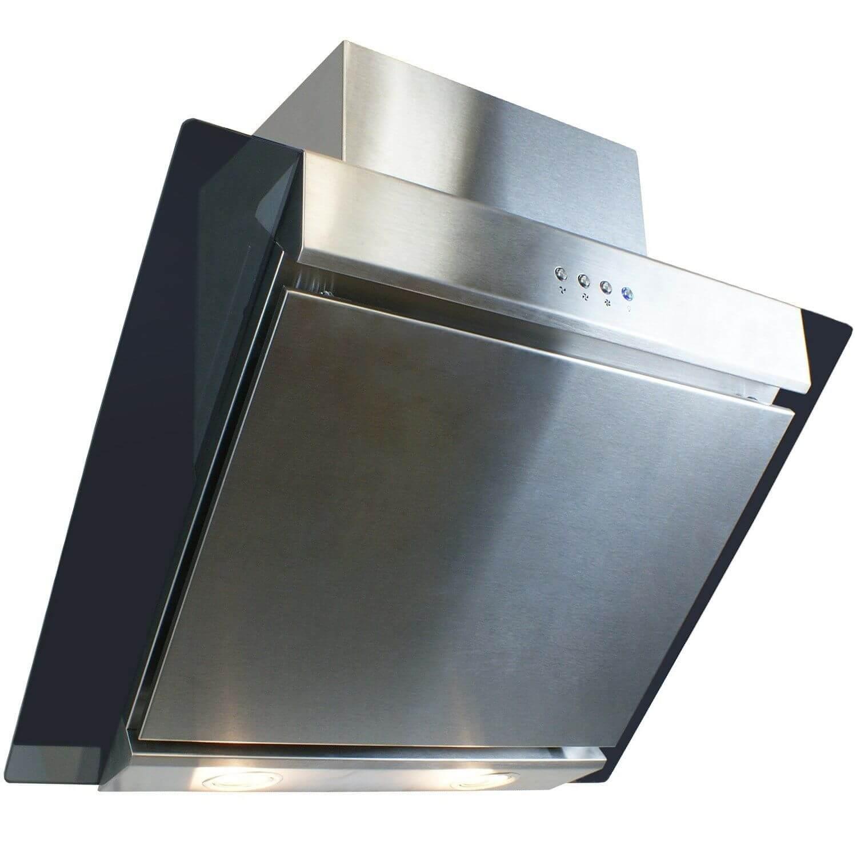 electriq 60cm stainless steel angled glass chimney cooker. Black Bedroom Furniture Sets. Home Design Ideas