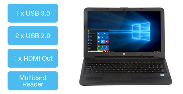 HP 250 G5 business laptop with 3 USB, 1 HDMI and 1 VGA port