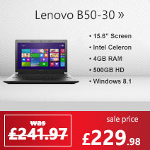 Lenovo B50-30 Intel Celeron N2840 4GB 500GB DVDRW 15.6 inch Windows 8.1 + Bing Laptop