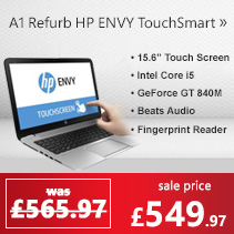 Refurbished Grade A1 HP ENVY TouchSmart 15-j184sa Core i5-4200M 4GB 1TB SSHD NVIDIA GeForce GT 840M 1GB 15.6 inch Full HD Touchscreen & Beats Audio Aluminium Laptop