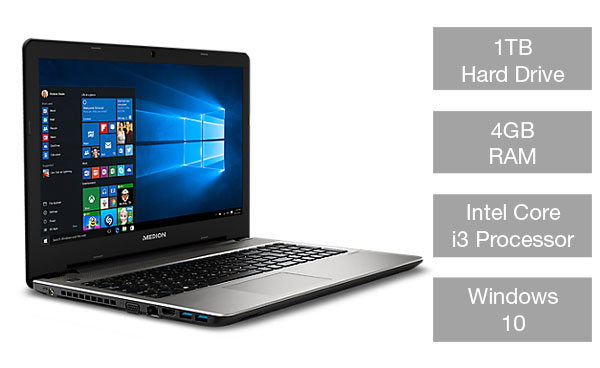 Medion Akoya E6421 laptop with 1TB hard drive, 4 GB RAM and Intel Core i3 processor