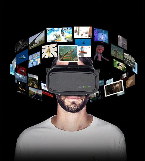 94881af0c79 electriQ 3D VR glasses for phones with black remote control ...