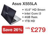 Asus X555LA Core i3-4030U 4GB 1TB DVDSM 15.6 inch Windows 8.1 Laptop