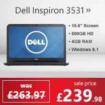 Dell Inspiron 3531 Intel Dual Core 4GB 500GB 15.6 inch Windows 8.1 Slim & Compact Laptop