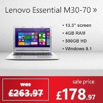 Lenovo Essential M30-70 4GB 500GB 13.3 inch windows 8.1 Laptop
