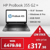 HP 355 G2 Quad Core 4GB 500GB Windows 7 Pro / Windows 8.1 Pro Laptop