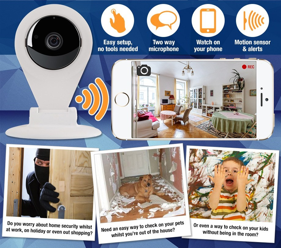 Fusion Curve IP Cam with easy set up, microphone, motion sensor and phone app