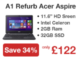 A1 Refurbished Acer Aspire ES1-111M Celeron N2840 2GB 32GB SSD 11.6 inch Windows 8.1 Laptop in Black