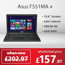 Refurbished Grade A1 Asus F551MA Celeron N2815 1.86GHz 4GB 500GB 15.6inch Windows 8 Laptop in Black