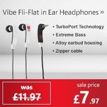 Vibe Fli-Flat in Ear Headphones